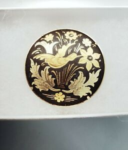Vintage-Damascene-Brooch-Pin-Round-Etched-Birds-Floral-Gold-Inlay