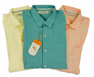 New Tommy Bahama Mens 100% Linen Long Sleeve Casual Shirt Multi-Color/Size