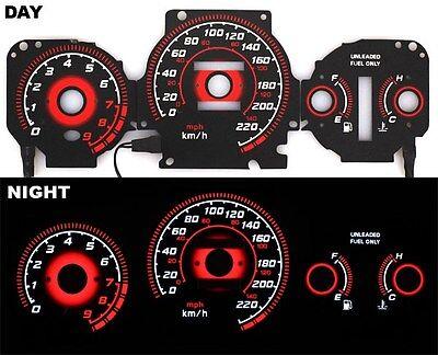 96-00 EK Civic EX Si GLi EL Glow Gauge RADIANT RED Reverse AT KMH BLACK Gauges