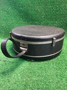 VTG Train Case Gray Samsonite Round Luggage Hat Box Mid Century WIthout Key