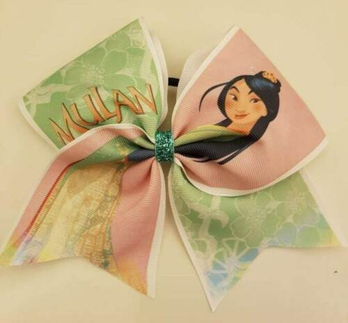 Large Princess Mulan Inspired Cheer bow Hair bow 7 inch