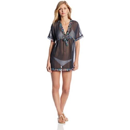 8c7774867 Anne Cole Signature Swim Cover Sz L Navy Blue Multi Chiffon Tunic Beach  Cover-Up