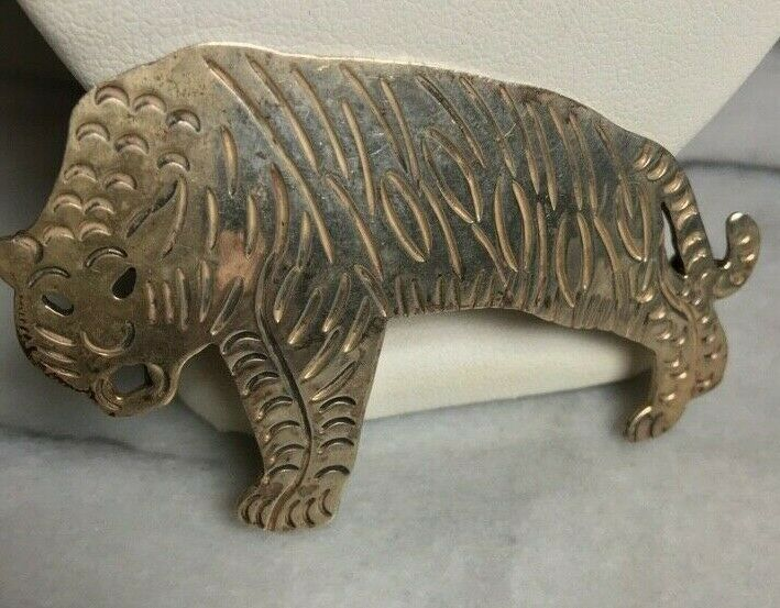 LARGE TAXCO 925 STERLING SILVER TIGER BROOCH  - image 5