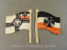 2 patriotische Fähnchen, Kaiserliche Reichskriegsflagge und Reichswehr Flagge