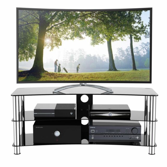 31fe80ed147 TV Stand Fits 32-55 inch LED LCD TV 3 Glass Shelf Curved Cabinet Chrome