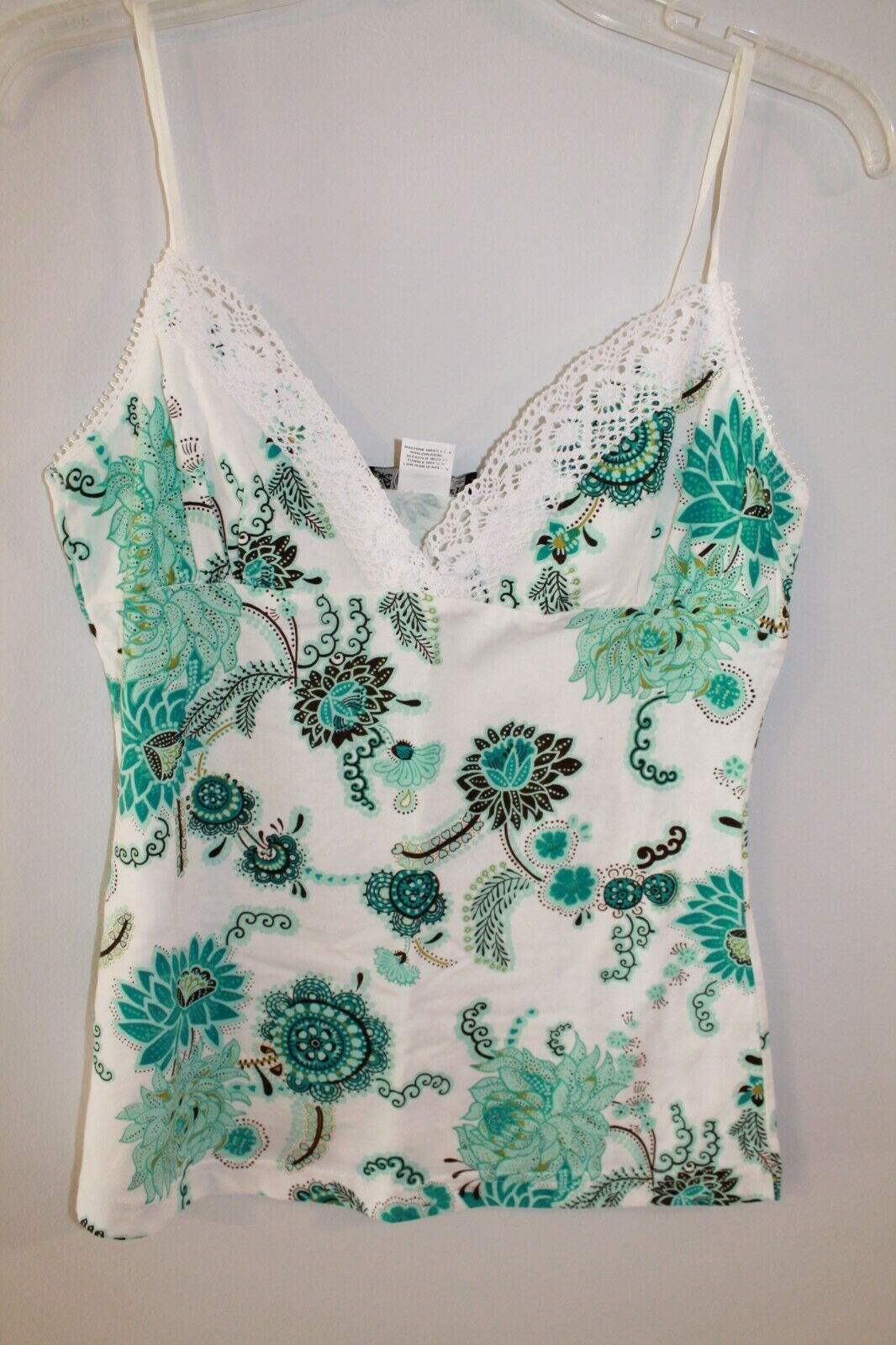 SELF ESTEEM turquoise brown floral  v-neck sleeveless blouse tank top size L 8