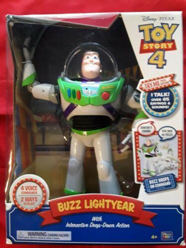 "DISNEY PIXAR TOY STORY 4 /""BUZZ LIGHTYEAR/"" INTERACTIVE DROP DOWN ACTION NIB"