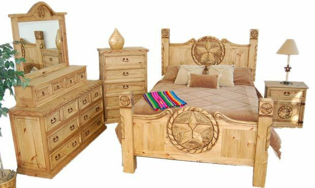 King Size Lone Star Bedroom Set Real Solid Wood Cabin Lodge Western