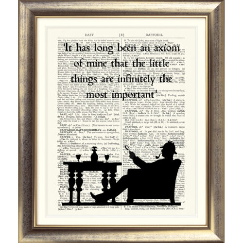 Art print Original Antique Book Page dictionnaire Sherlock Holmes Citation Poster
