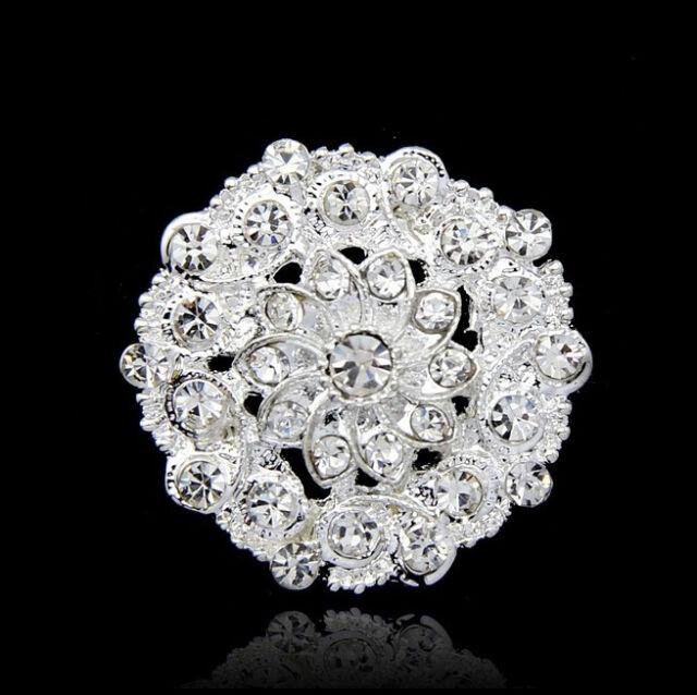 HOT Crystal Rhinestone Flower Wedding Bridal Bouquet Silver Flower Brooch Pin