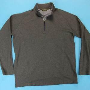 ORVIS-Half-Zip-Pullover-Men-L-Gray-Lightweight-Cotton-Causal-Dress-Shirt