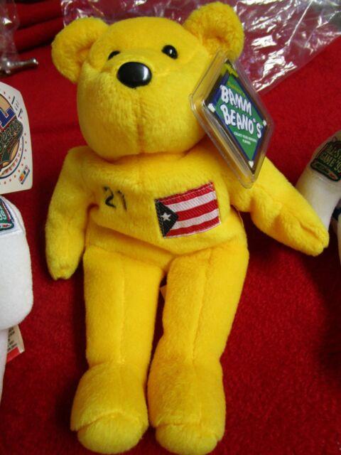VERY RARE!! - MINT- 1998 Salvino's Bamm Beano's Roberto Clemente #21 Yellow Bear