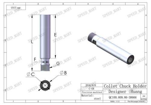 Collet Chuck Holder CNC Milling Extension Rod Straight Shank C25-ER20M-150L