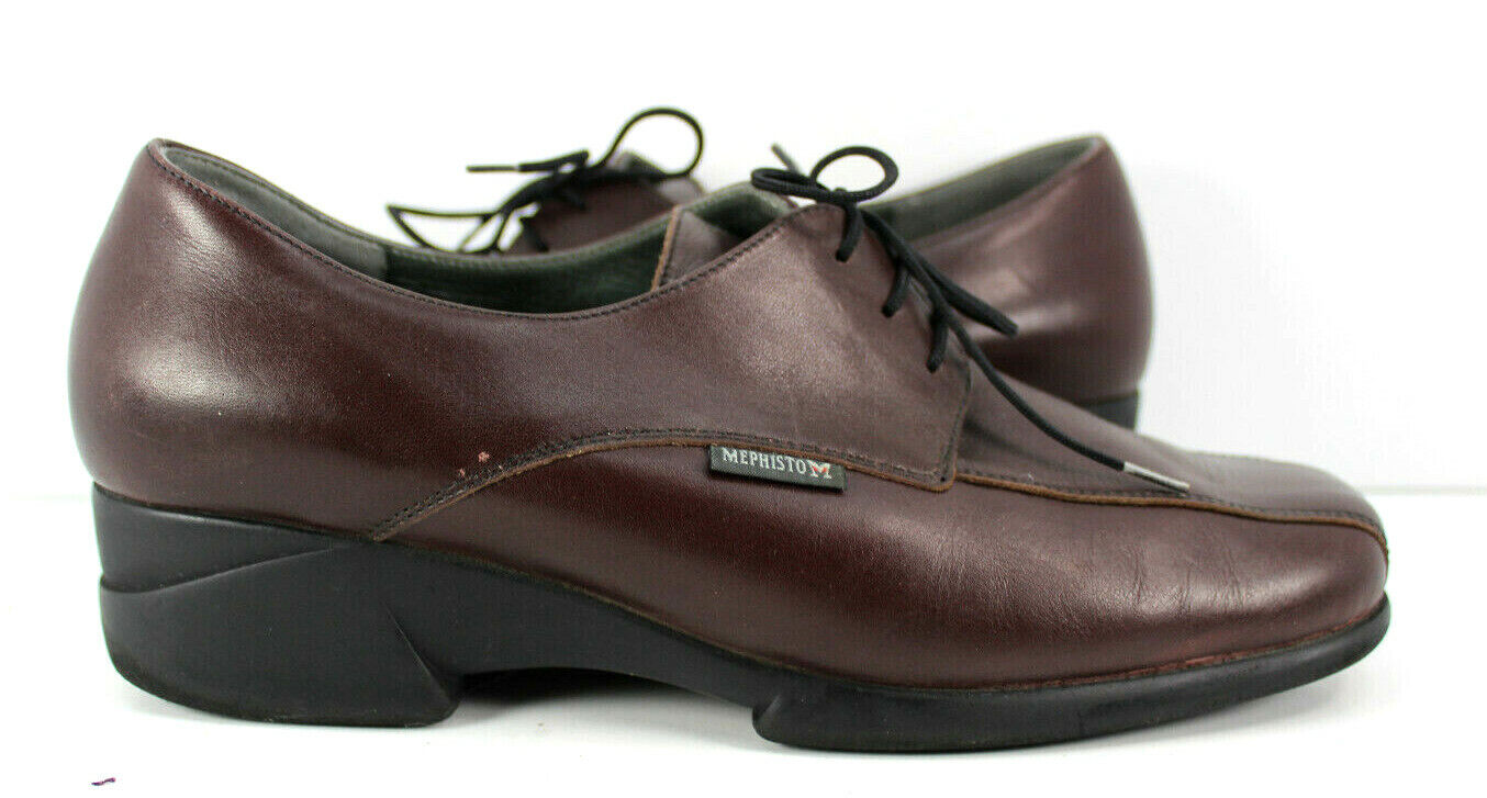 Mephisto Womens Sz 9 Supragum Sole Leather Leather Leather Lace Brown Oxford 650f85