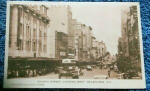1940-039-s-postcard-Bourke-St-Melbourne-looking-West-coles-building-double-deck-bus
