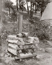 Rustic log oven camp cooking wood stove tent 1930s photo logging hunting camping