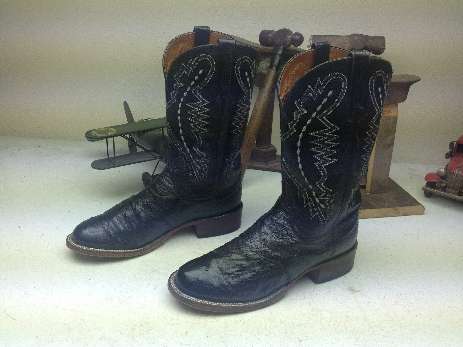 BLACK LUCCHESE DISTRESSED OSTRICH LEATHER ENGINEER TRAIL BOSS BOOTS 8 M