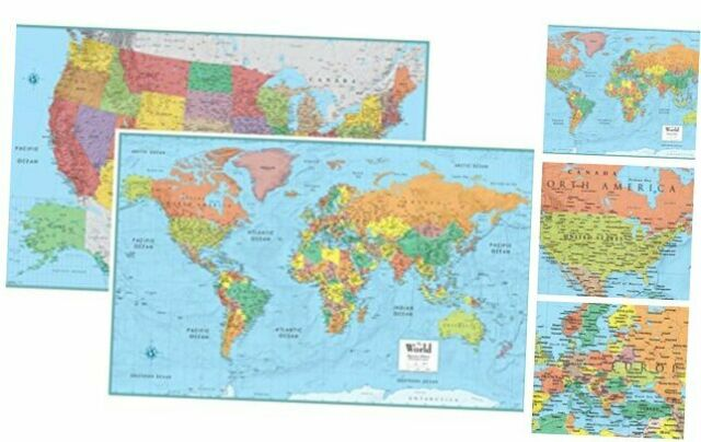 Rmc Signature United States Usa And World Wall Map Set