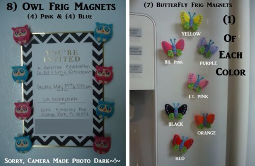 Butterfly Magnets OWL Magnets Pink Owls Blue Owls Magnets Colorful Butterflies