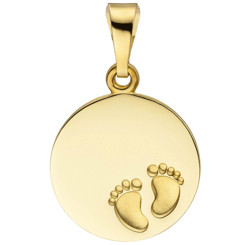 Pendentif Plaque Gravée Babyfüße 12,3mm Cercle de 333 or yellow , Partie Dépolie