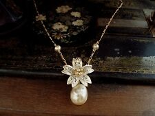 Vintage Flower Pendant with Baroque Pearl and Crystals Gold Plated Chain