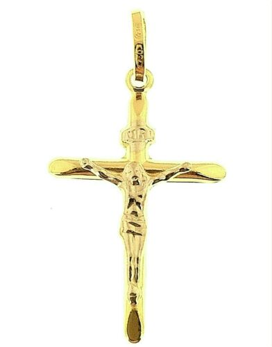 Kreuz Christus Anhänger Gelbgold 18K 750er Karat Pendant Christus Weißgold