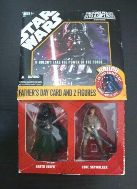Star Wars/Vatertag Karte & x2 Actionfiguren/Darth Vader Luke Skywalker