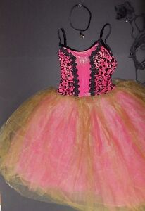 NWT Gold Touched European Length Ballet Costume Rose Scrollwork bodice 5 tr tutu