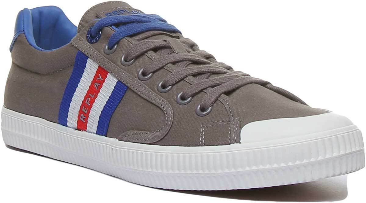Replay Bryant Mens Casual Lace Up Canvas Trainer In Grey Red Size UK 6 - 12
