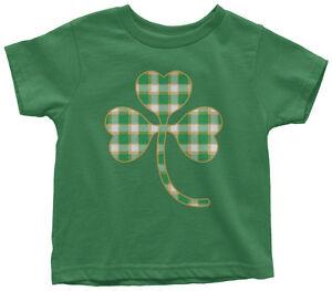 Plaid-Shamrock-Toddler-T-Shirt-St-Patrick-039-s-Day-Irish-Pride-Gift