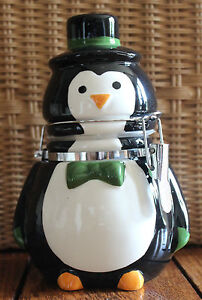 New Kitchen Bow Tie Penguin Party Hinged Jar Canister Christmas Holiday Season