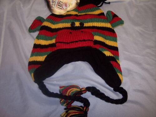 Sock Monkey Rasta Hat Animal Fleece Lined Earflaps Adult// Child Ski Cap