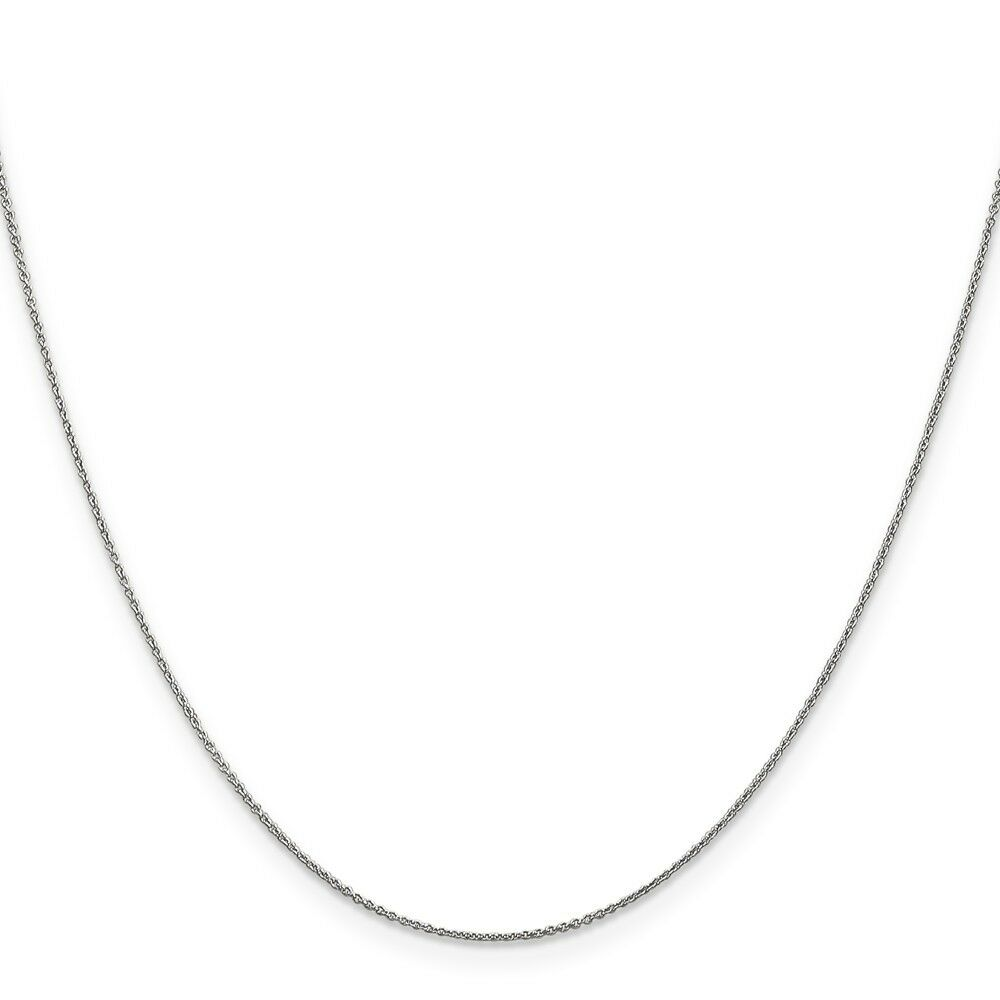 Genuine 14k White gold .75mm Solid Polished Cable Chain  18 inches 0.8gr