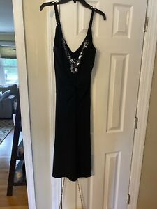 Bisou-Bisou-Women-s-Black-Faux-Wrap-Dress-Size-10