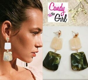 Big Geometric 2 Tier Khaki Green & Nude Square Acrylic Long Fashion Earrings