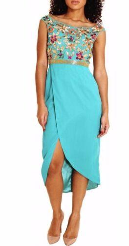 To Floral Lounge Bridesmaid Midi 14 8 Dress Virgos Embellished Party Lorena Teal q6HvRw