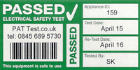 480x Fully Personalised Cable Wrap PAT Testing Labels with Bar Code