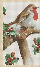 Cross stitch chart  Ideal Christmas Card -Christmas Robin FlowerPower37..