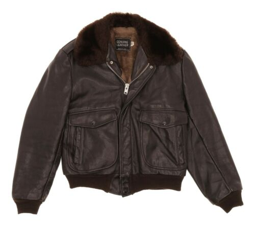 VINTAGE Leather BOMBER Jacket S Small Mens Brown T
