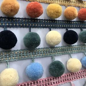 1M-Pom-Pom-Ball-Trim-Braid-Fringe-Curtain-Ribbon-Sewing-Tassel-Balls-Craft-DIY