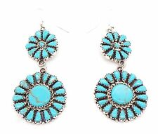 Navajo Handmade Sterling Silver Turquoise French Hook Earrings - Leander Nez