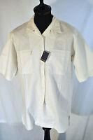 Vintage Women's Cream Linen Short Sleeve Shirt Size Large
