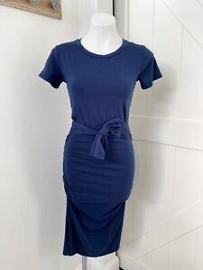Allison Joy Evereve Navy Blue Ruched Short Sleeve Tie Front MIDI Dress Women XS