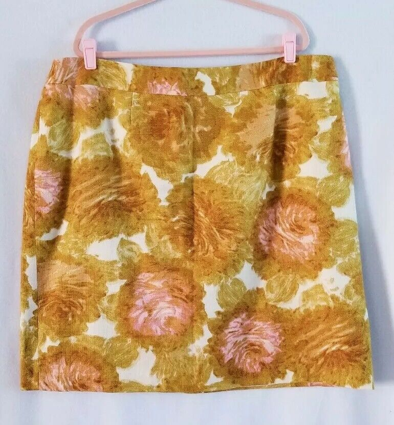 Talbots Womens Tuileries Floral  Skirt Lined Cream Brown Pink Size 24W