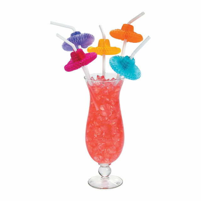 48 Mexican Flexible Tissue Sombrero Hat Straws- Fiesta/Cinco de Mayo Party Decor