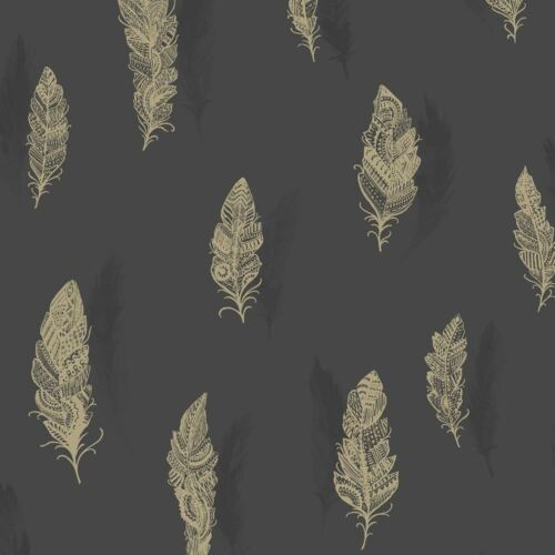 Quill Wallpaper By Holden Charcoal Shiny Copper Feathers Birds Luxury Feature