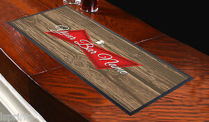 Personalised Red Label Wood Bar Towel Runner Pub Mat Beer Cocktail Party Gift
