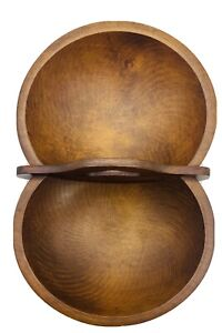 """Old Wooden Double Bowl with Handle Woodcroftery Wayland N.Y. 13.1/2""""L."""