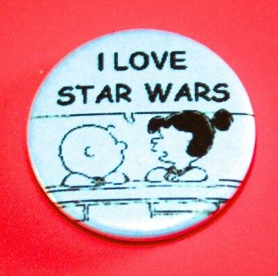 PEANUTS CHARLIE BROWN SNOOPY I LOVE STAR WARS BUTTON PIN BADGE