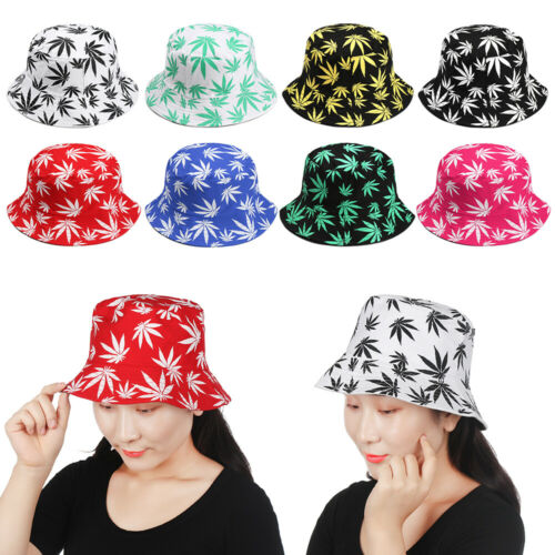 Fashion Couple Cotton Casual Boonie Gift Maple Leaf Fisherman Hats Hip Hop Cap